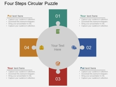 Four Steps Circular Puzzle Powerpoint Template