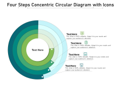 Four Steps Concentric Circular Diagram With Icons Ppt PowerPoint Presentation File Brochure PDF