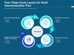 Four Steps Cycle Layout For Good Communication Plan Ppt PowerPoint Presentation Gallery Rules PDF