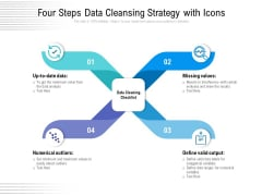 Four Steps Data Cleansing Strategy With Icons Ppt Icon Clipart PDF