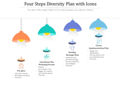 Four Steps Diversity Plan With Icons Ppt PowerPoint Presentation Inspiration Mockup PDF