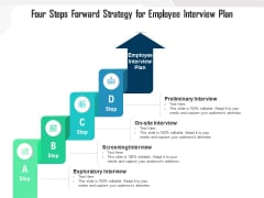 Four Steps Forward Strategy For Employee Interview Plan Ppt PowerPoint Presentation Gallery Influencers PDF