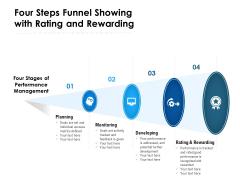 Four Steps Funnel Showing With Rating And Rewarding Ppt PowerPoint Presentation File Graphics Template PDF