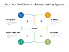 Four Steps Grid Chart For A Business Meeting Agenda Ppt PowerPoint Presentation Gallery Grid PDF