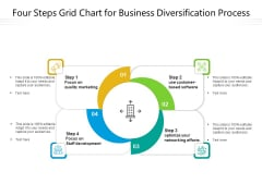 Four Steps Grid Chart For Business Diversification Process Ppt PowerPoint Presentation Gallery Guidelines PDF
