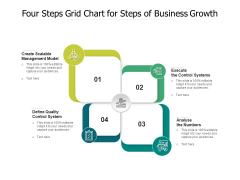 Four Steps Grid Chart For Steps Of Business Growth Ppt PowerPoint Presentation File Format PDF