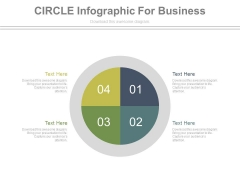 Four Steps In Circle Chart Powerpoint Template