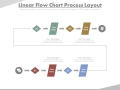 Four Steps In Linear Flow Chart Powerpoint Slides