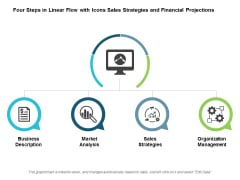 Four Steps In Linear Flow With Icons Sales Strategies And Financial Projections Ppt Powerpoint Presentation Portfolio Deck