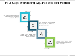 Four Steps Intersecting Squares With Text Holders Ppt PowerPoint Presentation Slides Structure