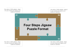 Four Steps Jigsaw Puzzle Format Ppt PowerPoint Presentation Summary Layout Ideas