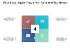 Four Steps Jigsaw Puzzle With Icons And Text Boxes Ppt Powerpoint Presentation Gallery Pictures