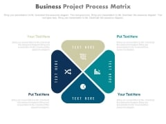 Four Steps Matrix Diagram For Project Report Powerpoint Template