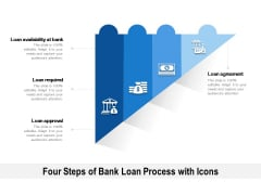 Four Steps Of Bank Loan Process With Icons Ppt PowerPoint Presentation File Background Image PDF