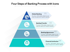 Four Steps Of Banking Process With Icons Ppt PowerPoint Presentation Gallery Microsoft PDF