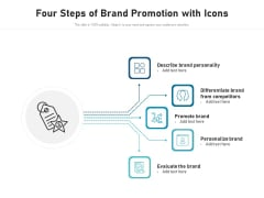 Four Steps Of Brand Promotion With Icons Ppt PowerPoint Presentation Pictures Design Templates PDF