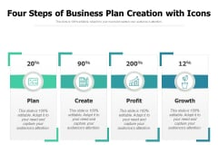 Four Steps Of Business Plan Creation With Icons Ppt PowerPoint Presentation Gallery Inspiration PDF