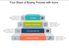 Four Steps Of Buying Process With Icons Ppt PowerPoint Presentation Gallery Smartart