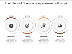 Four Steps Of Continuous Improvement With Icons Ppt PowerPoint Presentation Portfolio Inspiration
