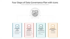 Four Steps Of Data Governance Plan With Icons Ppt PowerPoint Presentation Gallery Tips PDF