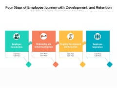 Four Steps Of Employee Journey With Development And Retention Ppt PowerPoint Presentation Gallery Slide Portrait PDF