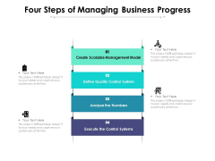 Four Steps Of Managing Business Progress Ppt PowerPoint Presentation Infographics Tips PDF