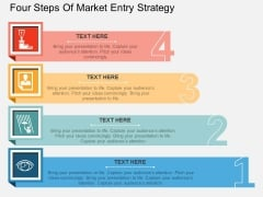 Four Steps Of Market Entry Strategy Powerpoint Template