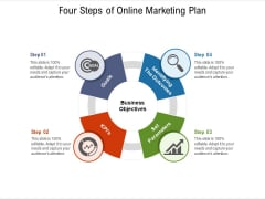 Four Steps Of Online Marketing Plan Ppt PowerPoint Presentation File Background Images PDF