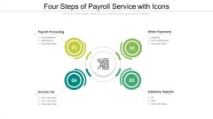 Four Steps Of Payroll Service With Icons Ppt PowerPoint Presentation Infographic Template Layout Ideas PDF