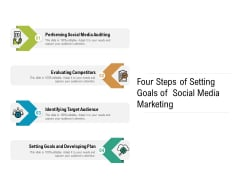 Four Steps Of Setting Goals Of Social Media Marketing Ppt PowerPoint Presentation Gallery Infographics PDF