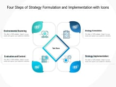 Four Steps Of Strategy Formulation And Implementation With Icons Ppt Layouts Tips PDF