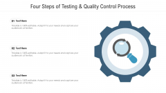Four Steps Of Testing And Quality Control Process Ppt PowerPoint Presentation Icon Deck PDF