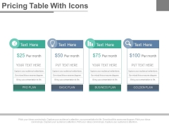 Four Steps Pricing Table With Icons Powerpoint Slides