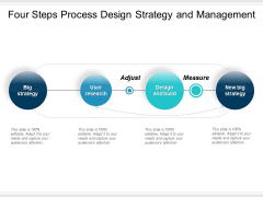 Four Steps Process Design Strategy And Management Ppt PowerPoint Presentation Visual Aids Inspiration
