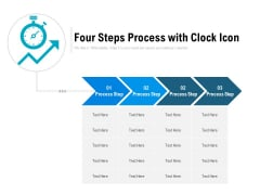 Four Steps Process With Clock Icon Ppt PowerPoint Presentation Gallery Display PDF