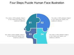 Four Steps Puzzle Human Face Illustration Ppt PowerPoint Presentation Gallery PDF