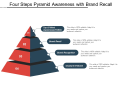 Four Steps Pyramid Awareness With Brand Recall Ppt PowerPoint Presentation Gallery Ideas PDF