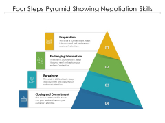 Four Steps Pyramid Showing Negotiation Skills Ppt PowerPoint Presentation Model Vector PDF