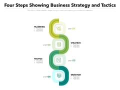 Four Steps Showing Business Strategy And Tactics Ppt PowerPoint Presentation Gallery Slides PDF