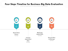 Four Steps Timeline For Business Big Data Evaluation Ppt PowerPoint Presentation Gallery Topics PDF