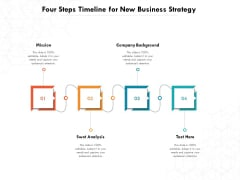 Four Steps Timeline For New Business Strategy Ppt PowerPoint Presentation Gallery Graphics Download PDF
