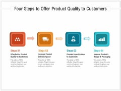 Four Steps To Offer Product Quality To Customers Ppt PowerPoint Presentation Gallery Aids PDF