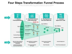 Four Steps Transformation Funnel Process Ppt PowerPoint Presentation Infographics Skills PDF