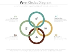Four Steps Venn Diagram With Business Icons Powerpoint Template