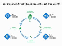 Four Steps With Creativity And Reach Through Tree Growth Ppt PowerPoint Presentation File Show PDF