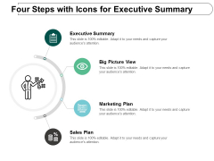 Four Steps With Icons For Executive Summary Ppt Powerpoint Presentation Inspiration Styles