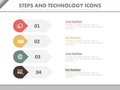 Four Strategic Steps With Technology Icons Powerpoint Slides