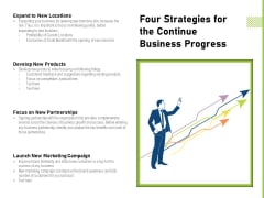 Four Strategies For The Continue Business Progress Ppt PowerPoint Presentation Gallery File Formats PDF