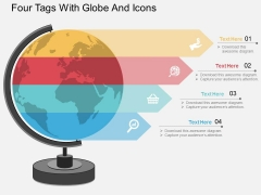 Four Tags With Globe And Icons Powerpoint Template