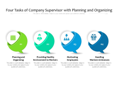 Four Tasks Of Company Supervisor With Planning And Organizing Ppt PowerPoint Presentation File Slides PDF
